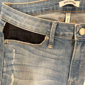GOOD AMERICAN Fishnet Detail Skinny Jeans Sz 6